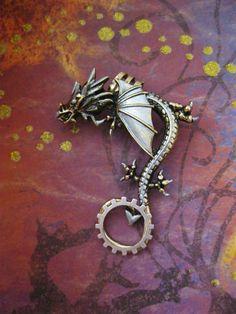 """Steampunk """"Metal Dragon"""" Ear Cuff. $20.00, via Etsy."""
