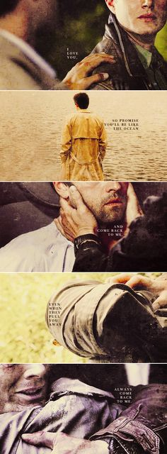 Dean + Castiel: When you're afraid, just think of me. #spn #destiel