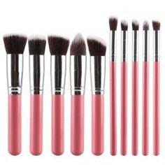 #trendsgal.com - #Trendsgal 10 Pcs Fiber Powder Brush Eyeshadow Brush Face Eye Makeup Brushes Set - AdoreWe.com