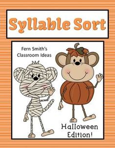 Syllable Sort Halloween Themed Center Game for Common Core #ReadingStrategy #Teacher www.FernSmithsClassroomIdeas.com