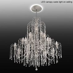 """Crystal Rain 37""""W Crystal Chandelier with LED Canopy - #7H100-6V862   Lamps Plus"""