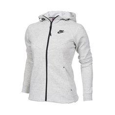 Women's Nike Tech Fleece Full-Zip Hoodie ($120) ❤ liked on Polyvore featuring activewear, activewear tops, nike sportswear, nike activewear and nike