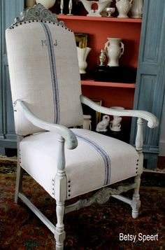 The best upholstery tutorial I have seen thus far: Betsy Speert's Blog: How to Upholster a Chair