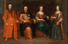 Sieniawski family (Stanisław Ernest Denhoff, Adam Mikołaj Sieniawski, Elżbieta Sieniawska and Maria Zofia Sieniawska) by Anonymous, 1724-1726 (PD-art/old), Muzeum Pałacu Króla Jana III w Wilanowie