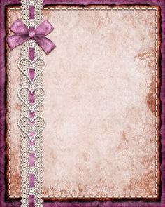 Ole4kaem. Old Leather Look Texture Purple Satin Ribbon Lace & Hearts Background.