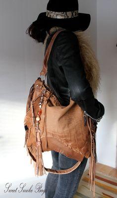 Milky brown leather fringed fringe  bag tribal by SweetSmokebags