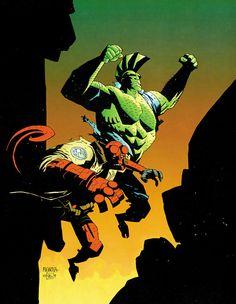 Hellboy & Savage Dragon By Mike Mignola