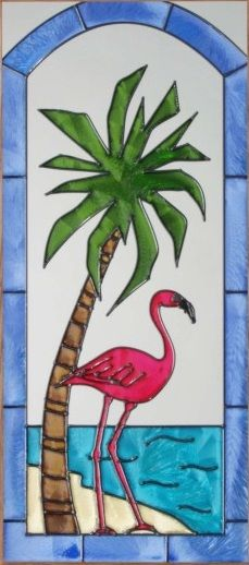 Flamingo Bird & Palm Tree Stained Glass Panel 4 Frame Choices 9 x 20 (SC029) -