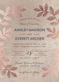 Loving this Rose Gold Metallic leaf design on this wedding invitation.