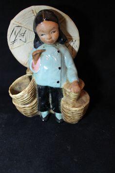 Vintage McCarty Bros California Pottery Porcelain Lady Figurine Planter BM-64