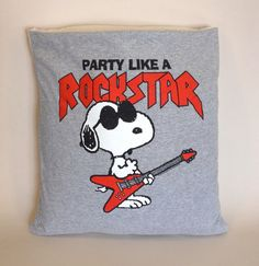 "An old tee shirt is decycled as vintage clothing and/or a Peanuts collectible and is Etsyverse ""upcycled"" into a new pillow, which makes it ""vintage"" on Etsy."
