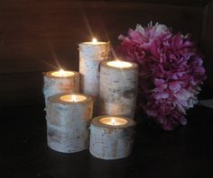 5 Birch Bark Log Tea Light  Candle Holders  for your Wedding  Centerpieces on Etsy, $18.00