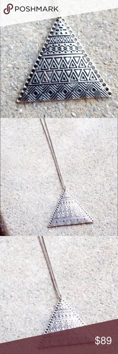 Triangle Long Necklace Silver stamped tribal Stunning silver necklace featuring a triangle Pendant with stamped tribal designs. Vibe: Anthropologie, Free People Vintage Jewelry Necklaces
