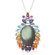 Liquidation Channel: Labradorite and Multi-Gemstone Pendant with Chain (20 in) in Platinum Overlay Sterling Silver (Nickel Free)