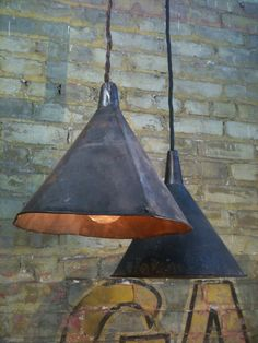 Repurposed Antique Funnels Farmhouse Lighting, these old funnels cord pendant could be nice on a modern farm or as a rustic vintage lamp! Perfect as kitchen pendant lighting.