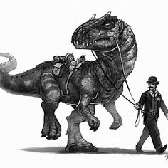 A Pinkerton getting his allosaurus ready for a man hunt.