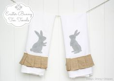 Hand Painted Easter Tea Towels by Design, Dining + Diapers, ruffled burlap, burlap towels, bunny towels, flour sack towels, spring dish towels, neutral easter decor