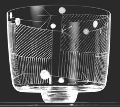 Karel Wuensch, 1959, colorless glass vase with linear engraving designed for Triennle di Milano 1960, H: 17,5 cm, UMPRUM Prague, Czechoslovakia