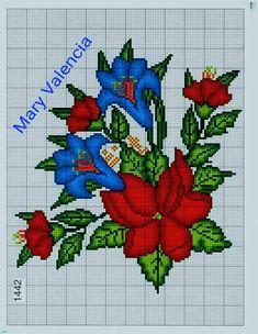 Cross Stitch Borders, Crochet Borders, Cross Stitch Animals, Cross Stitch Flowers, Cross Stitch Patterns, Knitting Patterns, Hand Embroidery, Cross Stitch Embroidery, Flower Coloring Pages