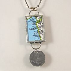 Bombay Map and Coin Pendant Necklace by XOHandworks $25