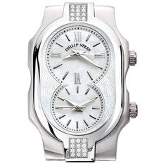 Philip Stein Stainless Steel Signature Duel Time Zone Mother of Pearl... ($995) ❤ liked on Polyvore featuring jewelry, watches, clear jewelry, dual time zone watches, leather-strap watches, brightly watches and clear crystal jewelry