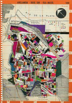 Avellaneda - Dock Sur, técnica mixta, acrilico s-papel, 2010. Adriana Lugones