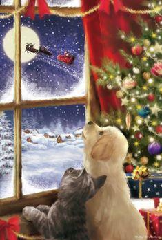 Christmas Puppy, Christmas Animals, Christmas Love, Christmas Cats, Winter Christmas, Christmas Posters, Good Morning Christmas, Christmas Scenery, Christmas Drawing
