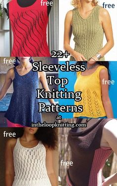 Knitting patterns for tanks, shells, and other sleeveless tops, most patterns are free