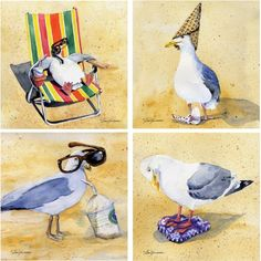 Thirstystone Drink Coasters Series, Silly Seagulls, Multicolor