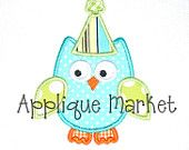 Machine Embroidery Design Applique Owl Birthday Hat