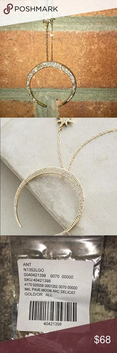Anthropologie Lunar Arc Necklace Anthropologie Lunar Arc Necklace.  New in package, only took out for photos.  Beautiful necklace with star hanging just above the moon.   Would look amazing for your New Years Eve festivities.   Quick shipping. Anthropologie Jewelry Necklaces