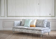 Winning Design from Sweden. Söderhamn 3 seater sofa cover in Lillhagen by Maria Rothman. Cushion covers in Aqua Panama Cotton and Artist Series Fiskis Orange. www.bemz.com