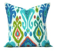 """One ikat  indoor/outdoor pillow cover, 12"""", 14"""", 16"""" 18"""" 20"""", throw pillow, decorative pillow, Outdoor Pillow, Blue Pillow, Green pillow by ThatDutchGirlHome on Etsy"""