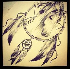 Dream catcher with horse. I am in love with this. My friend needs to draw me something like this.