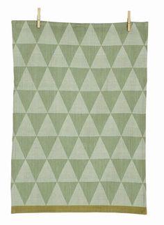 Ferm Living Mountain tè asciugamano di cotone, verde, 50x70cm