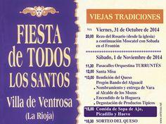 Entre viejas #tradiciones #Ventrosa de la Sierra celebrará la #Fiesta de todos los Santos con la siguiente #programación.