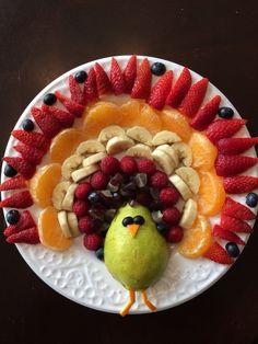 Turkey Fruit Platter with fruit cut smaller for little ones