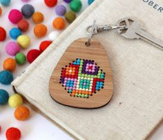 mymodernmetselects Colorful Cross Stitch Kits by Jo Campbell   Cross stitch is a fantastic way to unwind after a long day. Crafter Jo Campbell has created a series of these small embroidery projects you can easily complete in an evening. Through her Etsy shop Clementine and Thread, she sells DIY kits that instruct you on how to make brooches, keychains, and necklaces using the cross-stitch approach. Each kit comes with exactly what you'll need to complete the project, including a needle and…