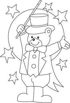 Teddy bear magician in printable Circus coloring pages