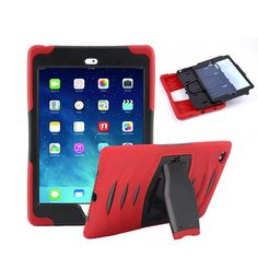 iPad Mini4 Case, Yxim 360 Full-body Protective Built-In Screen Protector Silicon Rubber Hybrid Hard Durable Shockproof Shock Absorbent Kickstand Cover (Red) * To view further for this item, visit the image link.