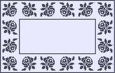 схема с розами для салфетки или скатерти