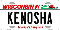 Kenosha Wisconsin Background Novelty Metal License Plate