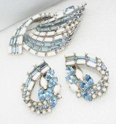 Vintage Big Blue Rhinestone White Milk Glass Brooch Pin Earrings Set Demi Large | eBay