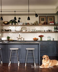 Ollie, the golden retriever, lounges on oak floors that are laid in a herringbone pattern. - Photo: Jonny Valiant / Design: Blair Harris
