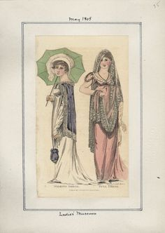 Lady's Museum, May 1805. Ok, that last one didn't really count since it was a repeat, so here's some new pretty to look at! The accessories in this one are particularly fabulous! The veil on the pink girl is exquisite and I love everything about the...
