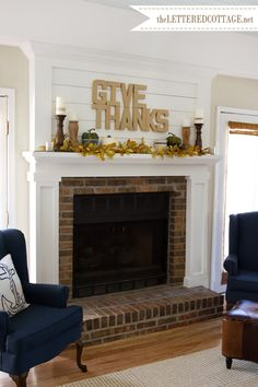 Fall Mantel: raw paper mache letters {hot glued together, then hung on wall with masking tape}, faux leaf garland {Hobby Lobby}, and green gourds in ceramic bowls and woven twig nests | The Lettered Cottage