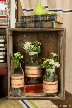 "Use decorated trim to take vases or mason jars to the next level of ""rustic-chic""."