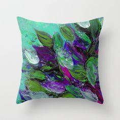 """Blooming Beautiful 1"" by Ebi Emporium on Society 6, #colorful #chic #homedecor #decorative #decor #pillow #cushion #throwpillow #pillowcover #throwcushion #cushioncover #tosspillow #tosscushion #bedroomdecor #bedding #livingroom #art #dorm #fineart #floralpattern #floralprint #floralart #flowers #floral #painting #turquoise #mint #green #aqua #purple #bloom #leaves #garden #summer #nature #Artist #JuliaDiSano #EbiEmporium"