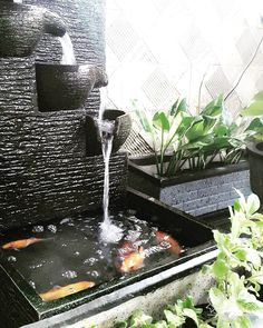 30 Fantastic Garden Waterfall For Small Garden Ideas - Garden Decor Indoor Waterfall, Garden Waterfall, Small Waterfall, Waterfall Fountain, Indoor Water Fountains, Indoor Fountain, Fountain Ideas, Fountain Design, Small Backyard Ponds