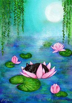 Kitten Sleeping in Water Lilies - Soft Pastel Monet Watercolor Giclee Painting Art Print - by Annya Kai via Etsy